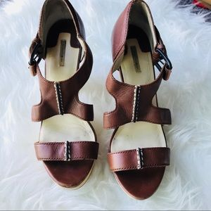 Max Studio  Brown Leather Platform Sandals 6